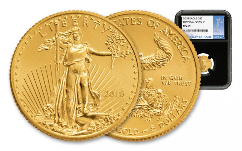 2018 5 Dollar 1/10-oz Gold Eagle NGC MS69 First Day Of Issue Silver Label - Black