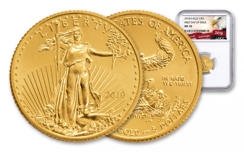2018 5 Dollar 1/10-oz Gold Eagle NGC MS70 First Day Of Issue Eagle Label