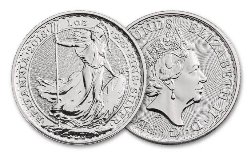 2018 Great Britain 1-oz Silver Britannia Brilliant Uncirculated