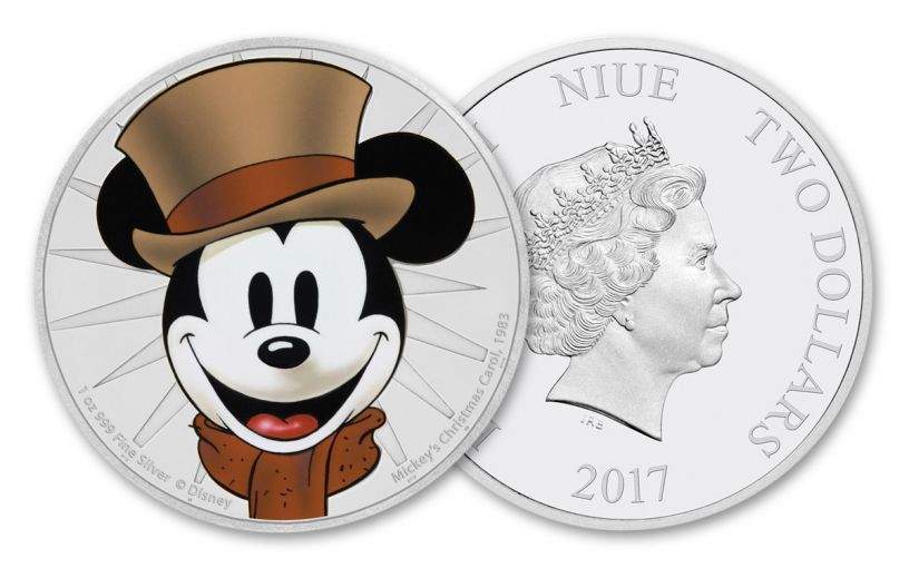 2017 Niue 1-oz Silver Mickey's Christmas Carol Proof