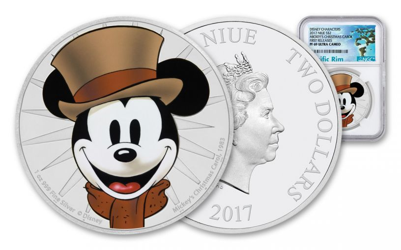 2017 Niue 1-oz Silver Mickey Christmas Carol NGC PF69UCAM First Releases