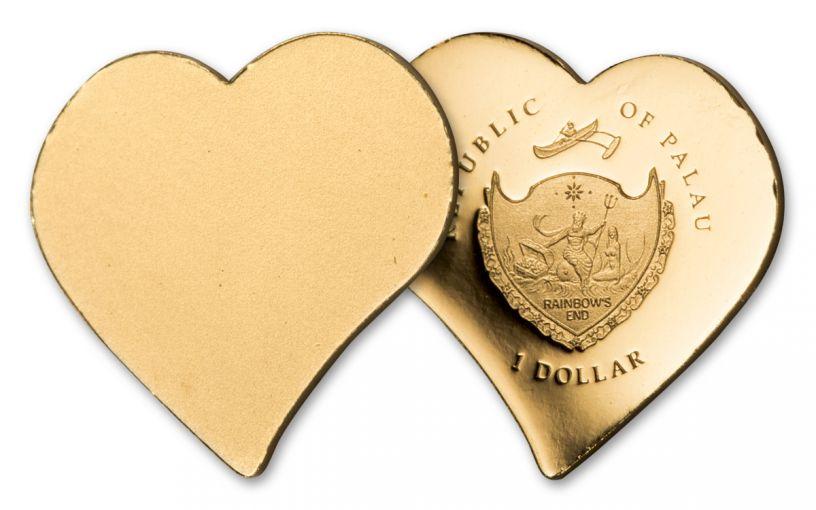 Palau 1 Dollar 1/2 Gram Gold Everlasting Love Proof