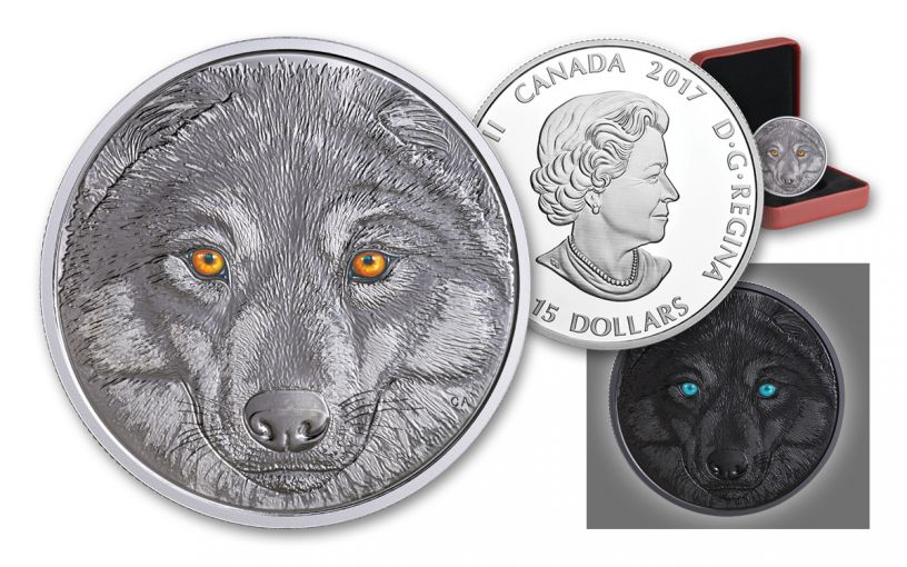 2017 Canada 15 Dollar Silver in the Eyes of the Wolf Proof
