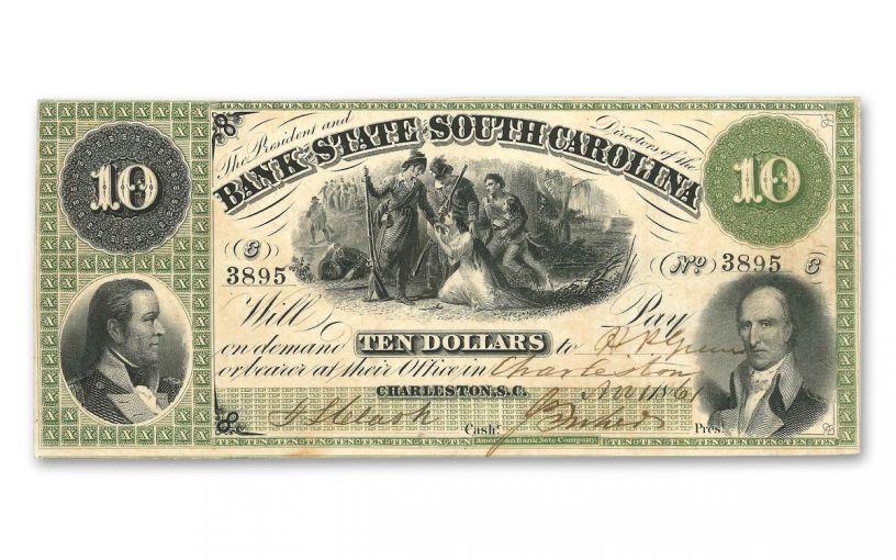 1861 10 Dollar South Carolina Note F-VF