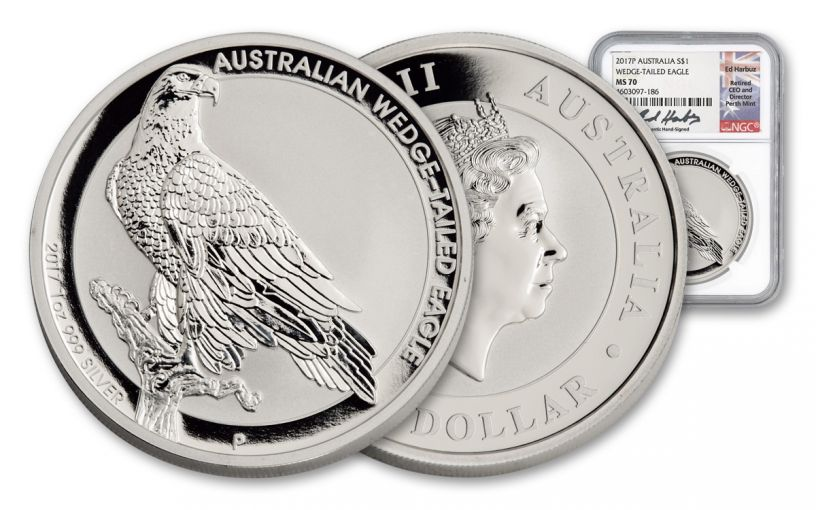 2017 Australia 1 Dollar 1-oz Silver Wedge Tail Eagle NGC MS70- Harbuz Signed