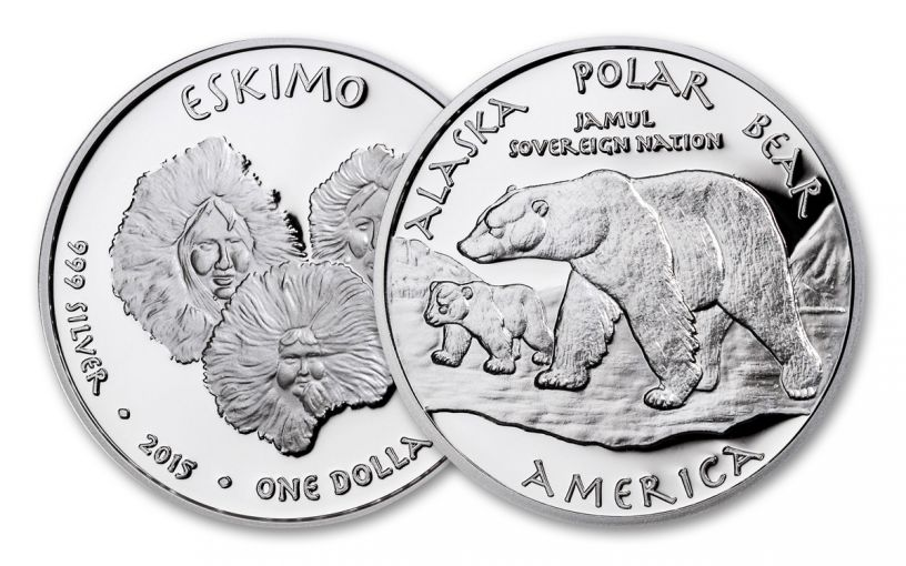 2015 Alaska 1 Dollar 1-oz Silver Polar Bear Eskimo Proof