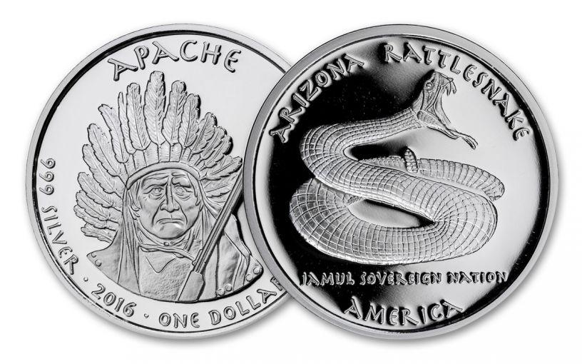 2016 Arizona 1 Dollar 1-oz Silver Rattlesnake Apache Proof