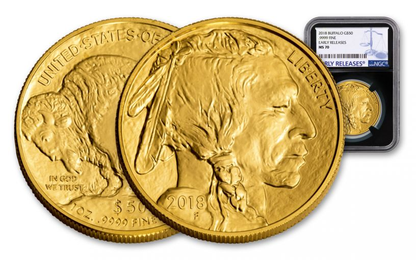 2018 50 Dollar 1-oz Gold Buffalo NGC MS70 Early Releases - Black