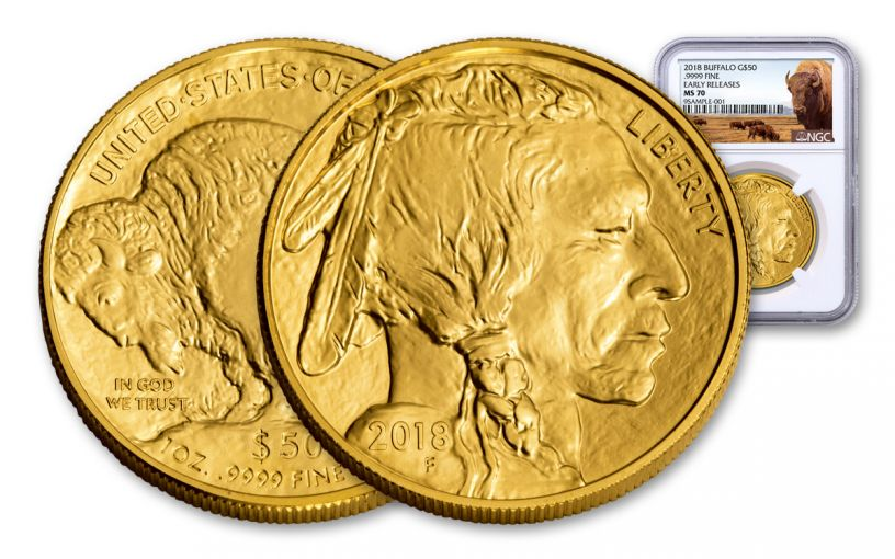 2018 50 Dollar 1-oz Gold Buffalo NGC MS70 Early Releases Buffalo Label