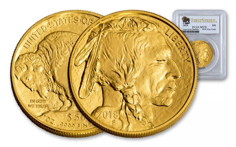 2018 50 Dollar 1-oz Gold Buffalo PCGS MS70 First Strike Buffalo Label
