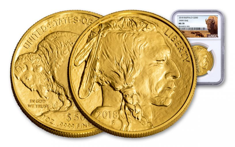 2018 50 Dollar 1-oz Gold Buffalo NGC MS70 Buffalo Label
