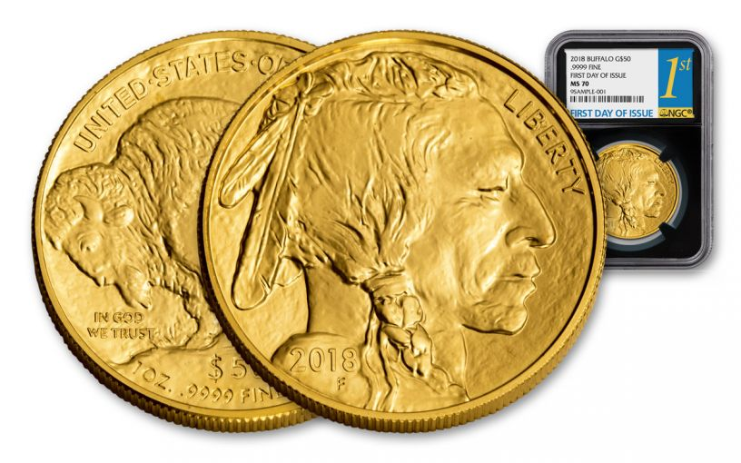 2018 50 Dollar 1-oz Gold Buffalo NGC MS70 First Day Of Issue - Black