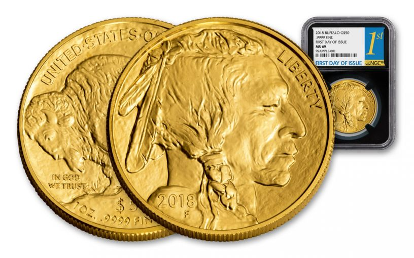 2018 50 Dollar 1-oz Gold Buffalo NGC MS69 First Day Of Issue - Black