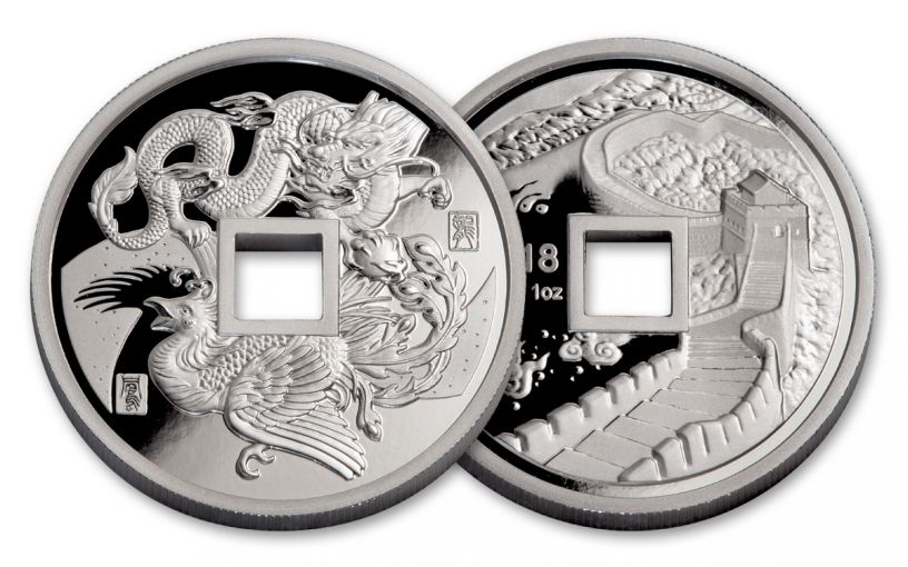 2018 China 1-oz Silver Phoenix & Dragon Proof
