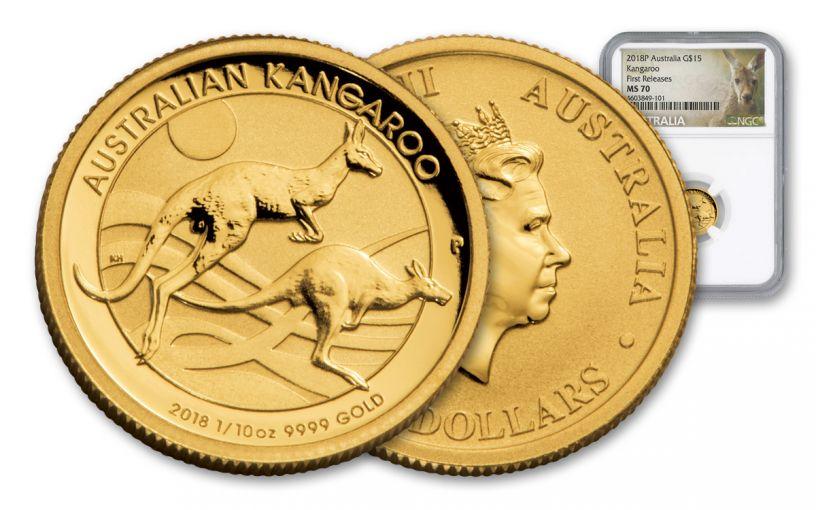 2018 Australia 15 Dollar 1/10-oz Gold Kangaroo NGC MS70 First Releases