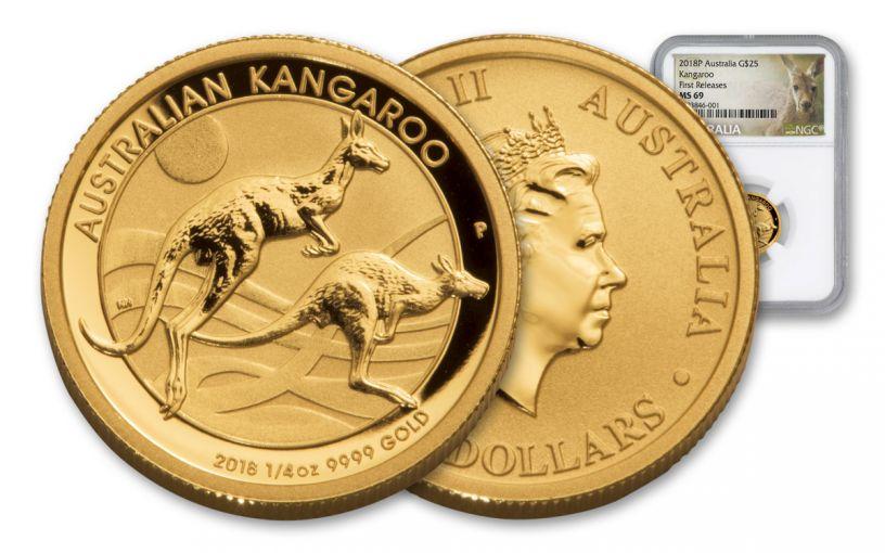 2018 Australia 25 Dollar 1/4-oz Gold Kangaroo NGC MS69 First Releases