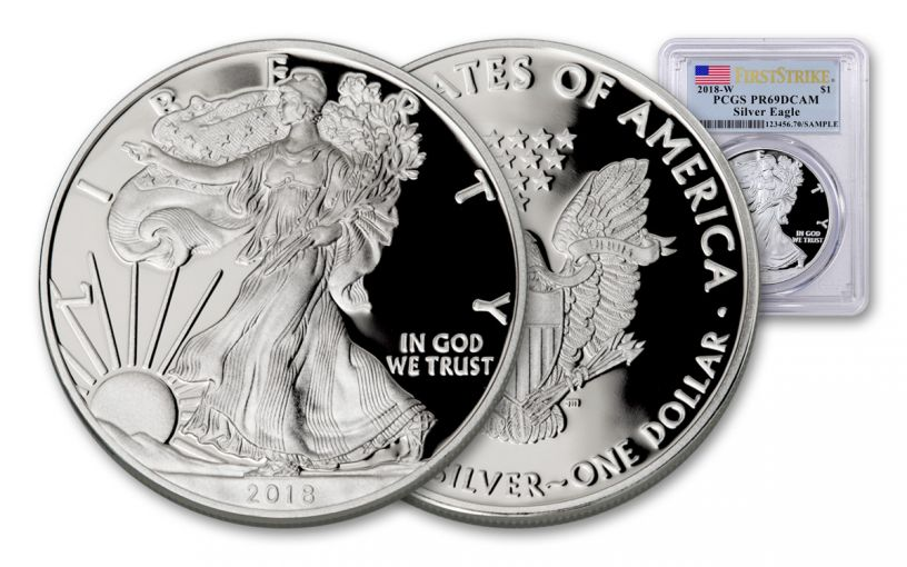 2018-W 1 Dollar 1-oz Silver Eagle PCGS PR69DCAM First Strike Flag Label
