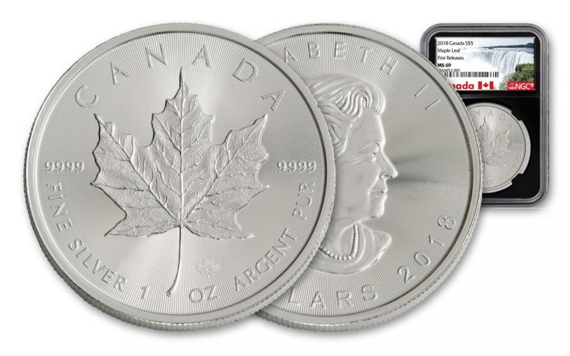 2018 Canada 1-oz Silver Maple Leaf NGC MS69- First Releases- Black Core