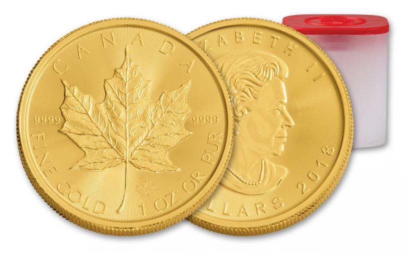 2018 Canada 1-oz Gold Maple Leaf Brilliant Uncirculated Roll 10