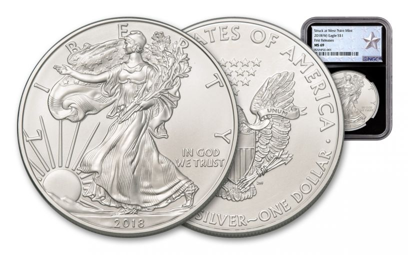 2018-W 1 Dollar 1-oz Silver Eagle NGC MS69 First Releases Silver Star Label - Black