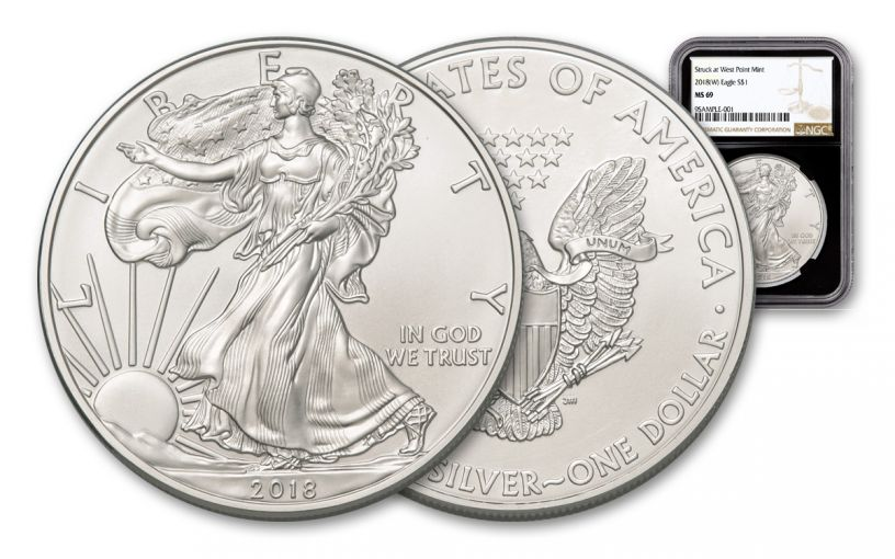 2018-W 1 Dollar 1-oz Silver Eagle NGC MS69 Brown Label - Black