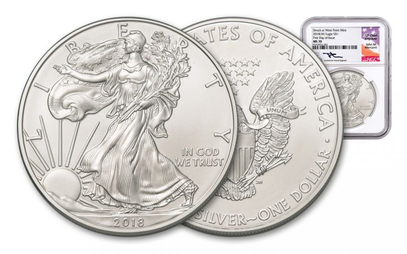 2018-W 1 Dollar 1-oz Silver Eagle NGC MS70 First Day Of Issue Mercanti Signed