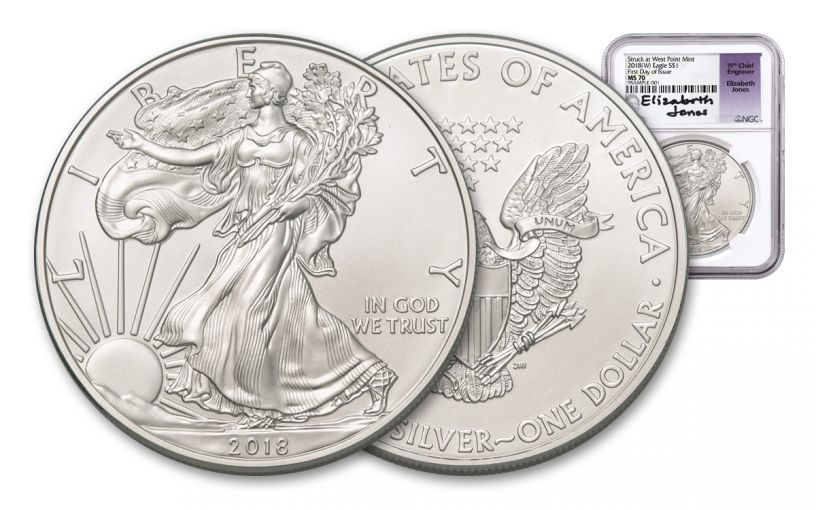 2018-W 1 Dollar 1-oz Silver Eagle NGC MS70 First Day Of Issue Jones Signed