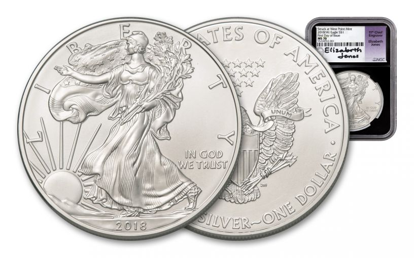 2018-W 1 Dollar 1-oz Silver Eagle NGC MS70 First Day Of Issue Jones Signed - Black