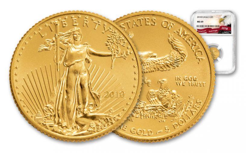 2018 5 Dollar 1/10-oz Gold Eagle NGC MS69 Eagle Label