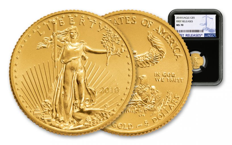 2018 5 Dollar 1/10-oz Gold Eagle NGC MS70 First Releases - Black