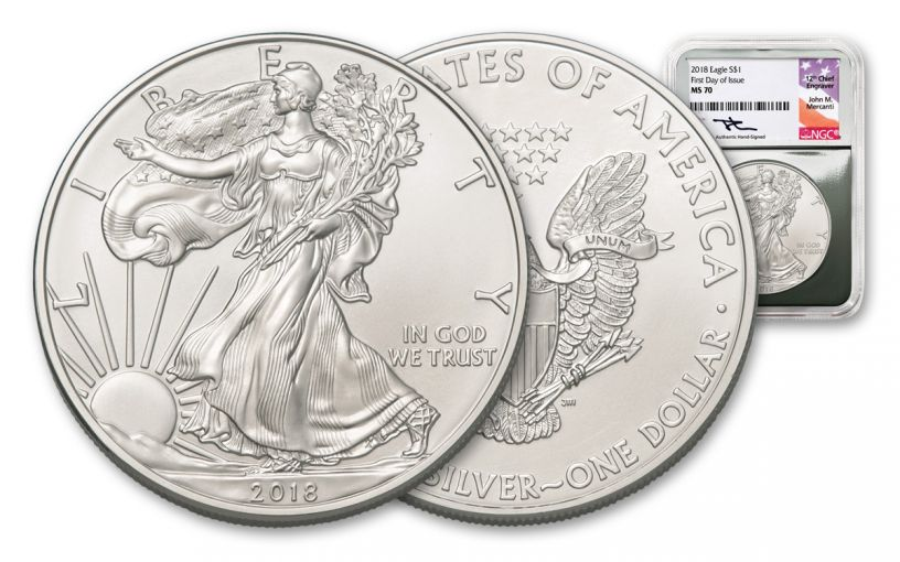 2018 1 Dollar 1-oz Silver Eagle NGC MS70 First Day Of Issue Mercanti Signed - Silver Foil