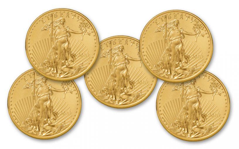 2018 50 Dollar 1-oz Gold Eagle BU Lot of 5