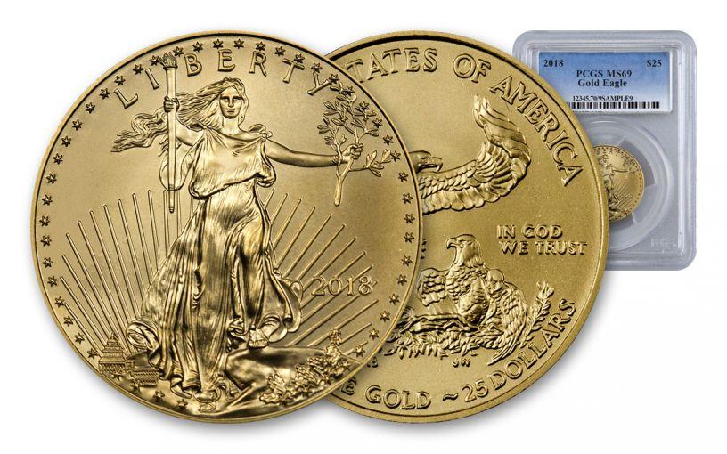 2018 25 Dollar 1/2-oz Gold Eagle PCGS MS69