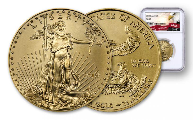 2018 25 Dollar 1/2-oz Gold Eagle NGC MS69 Eagle Label