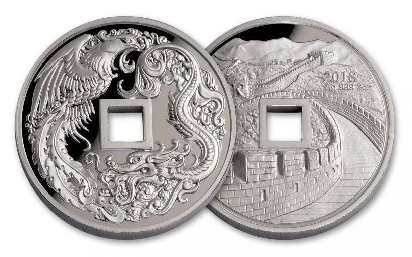 2018 China 2-oz Silver Phoenix & Dragon Proof