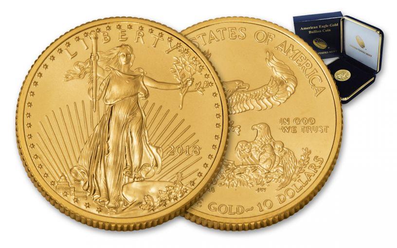 2018 10 Dollar 1/4-oz Gold Eagle BU in U.S. Mint Presentation Box