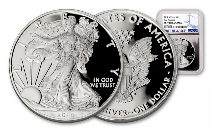2018-W 1 Dollar 1-oz Silver Eagle NGC PF70UCAM First Releases - Silver Foil