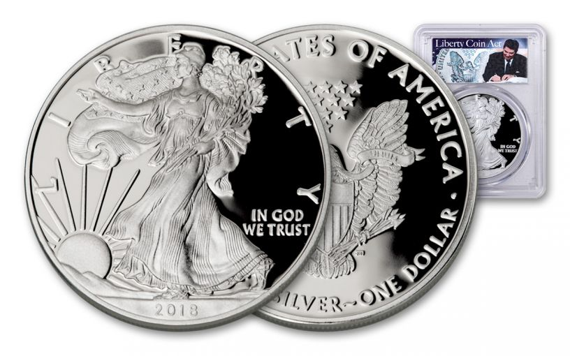 2018-W 1 Dollar 1-oz Silver Eagle PCGS PR70DCAM First Strike - Reagan Liberty Coin Act