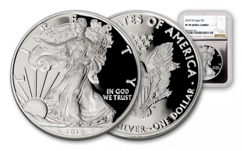 2018-W 1 Dollar 1-oz Silver Eagle NGC PF70UCAM - Silver Foil