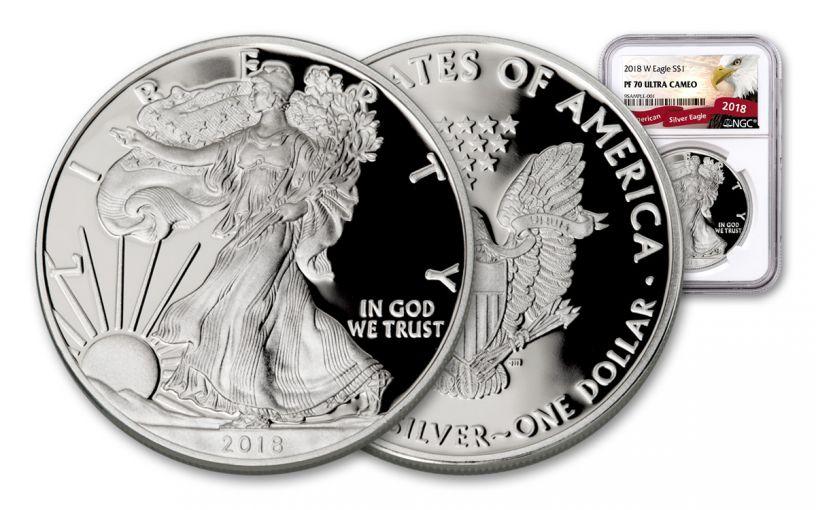 2018-W 1 Dollar 1-oz Silver Eagle NGC PF70UCAM Eagle Label