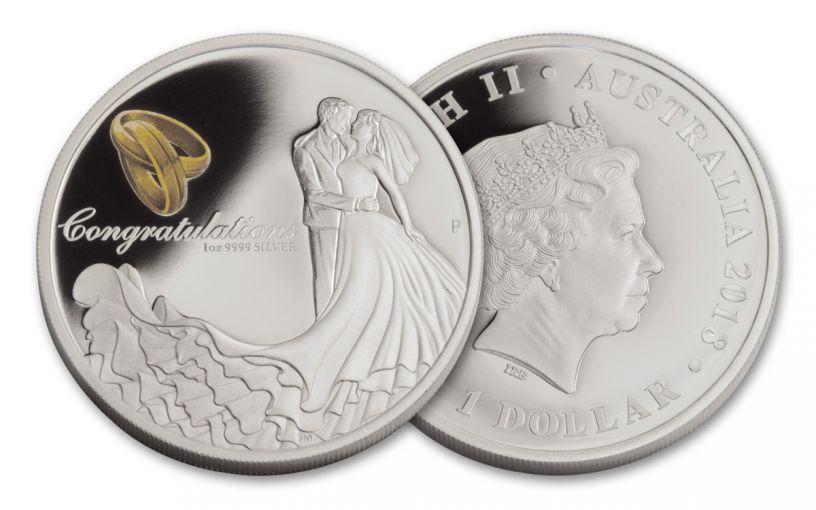 2018 Australia 1 Dollar 1-oz Silver Wedding Proof
