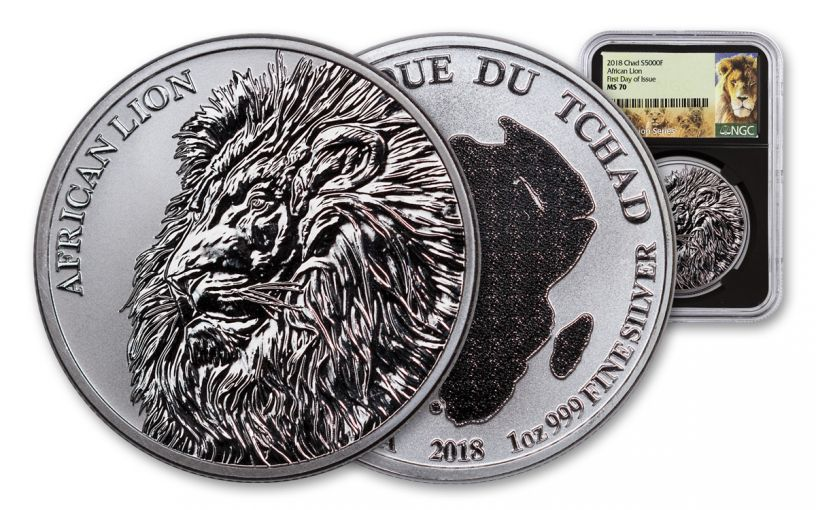 2018 Chad 5000 Franc 1-oz Silver African Lion NGC MS70 First Day of Issue - Black