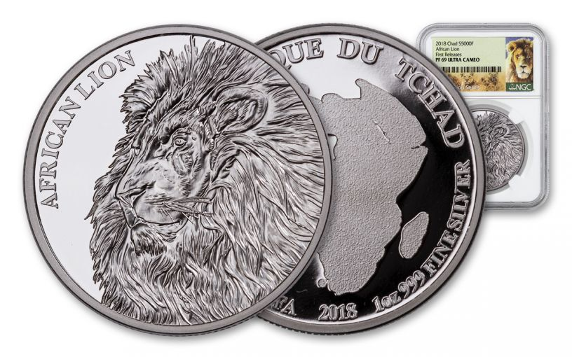 2018 Chad 5000 Franc 1-oz Silver African Lion NGC PF69UCAM First Releases Lion Label