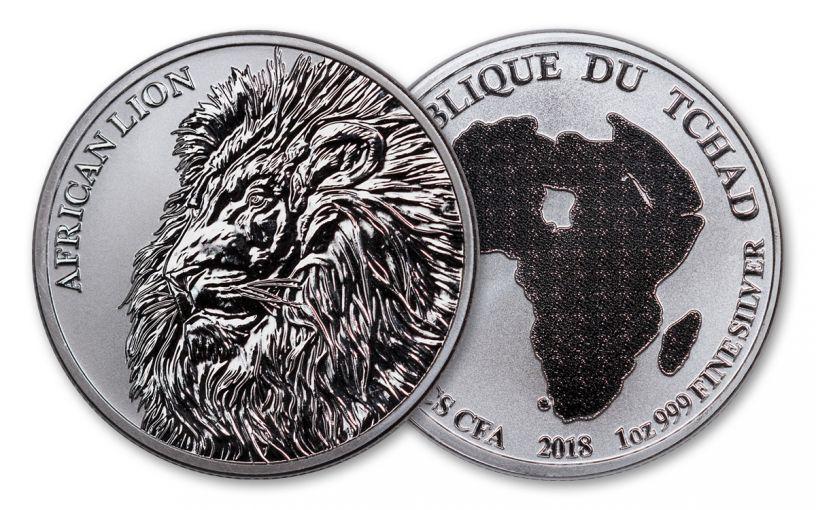 2018 Chad 5000 Franc 1-oz Silver African Lion BU