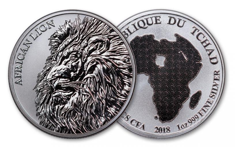 2018 Chad 5000 Franc 1-oz Silver African Lion BU Mint Box
