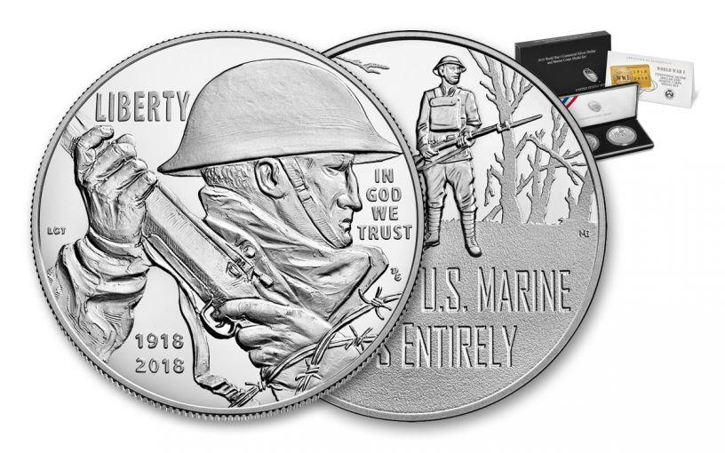 2018-P 1 Dollar Silver World War I Centennial Proof and Marine Medal 2pc Set