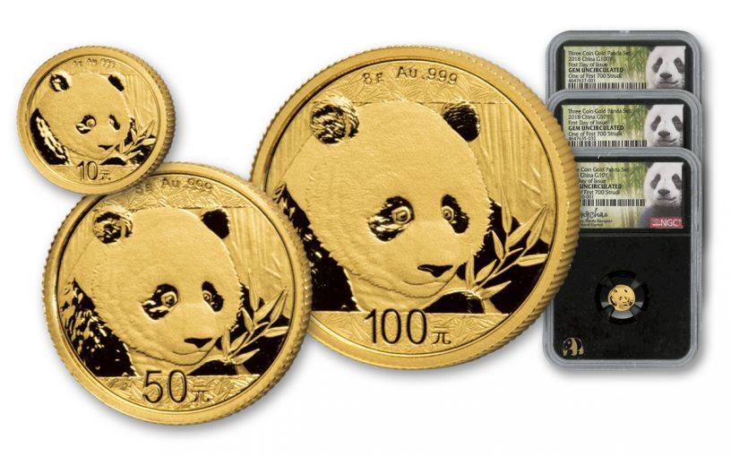 2018 China Gold Panda Mini Prestige NGC Gem First Day Of Issue Chao Signed - Black