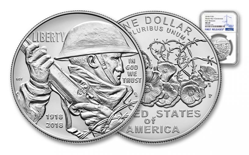 2018-P 1 Dollar Silver World War I Centennial NGC PF70UCAM First Releases
