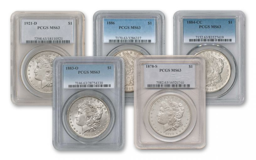 1878-1921 Morgan Silver Dollar PCGS/NGC MS63 5pc Set