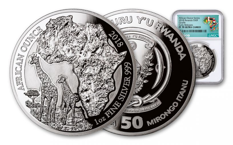 2018 Rwanda 1-oz Silver African Giraffes NGC PF70UCAM Early Releases